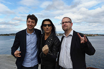 Photo (left to right): Bastien Ricquebourg (RUSO conductor), Joey DeMaio, Sindre Lyslo (CEO of RUSO orchestra)